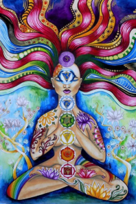 Breathe a rainbow visualisation. Image of chakras